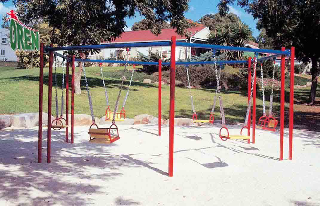 Playground Equipment slides | School Playground Equipment | Wooden Playground Equipment | Commercial Playground Equipment | Elements Playground Equipment - Facility Swings Hexagon - 1402